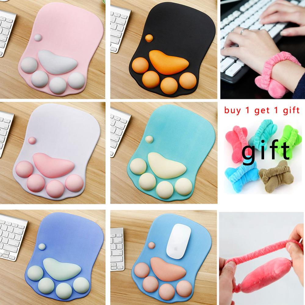 Creative Cute Cat Paw Wrist Mouse Pad Office Animation Cartoon Girl Adorable Home Mouse Pad For PC Laptop,Buy 1 Get 1 Gift image