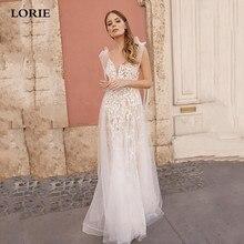 LORIE Spaghetti Strap Lace Wedding Dress 2020 Sexy V Neck Appliqued Boho Bridal Gowns Long Vestido de novia