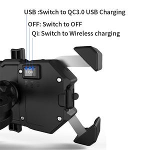 Image 2 - Держатель для телефона мотоцикла 15 Вт беспроводное умное зарядное устройство QC3.0 провод Charing 2 в 1 полуавтоматическая подставка 360 градусов вращающийся кронштейн