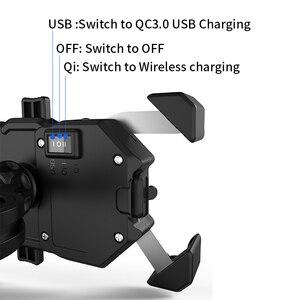 Image 2 - 오토바이 핸드폰 홀더, 15W 무선 스마트 충전, QC3.0 와이어 중전, 2 in 1 반자동 스탠드 360도 회전 브래킷