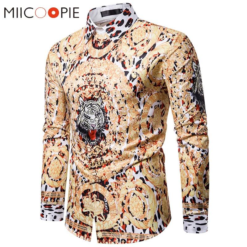 Luxury Golden Tiger Print Shirt Men Brand Leopard Long Sleeve Floral Shirts Men Dress Nightclub Camisa Social Hip Hop Streetwear