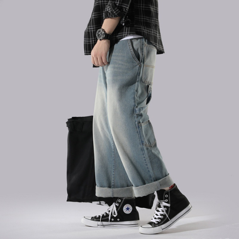 Spring And Autumn Korean-style Men CHIC Straight-Cut Jeans Retro Washing Hong Kong Style Trend Teenager Harem Wide-Leg Trousers