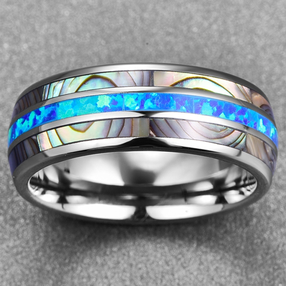 Qevila New Fashion Rings Jewelry Simple Tungsten Carbide Shell Men Ring Casual Blue Fire Silver Ring for Men party Dropshipping (6)