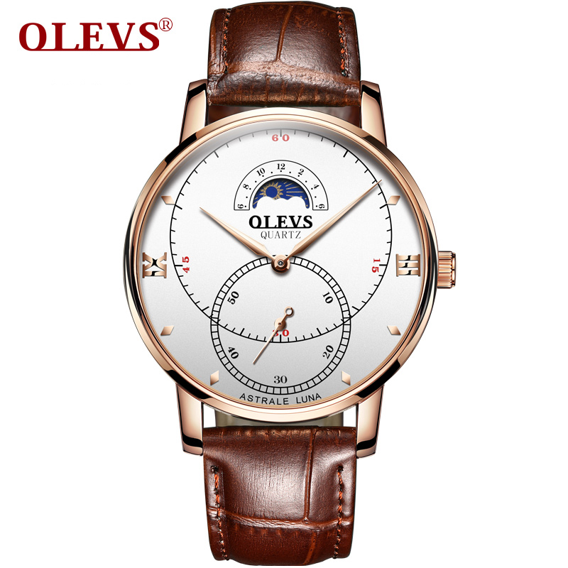 OLEVS Fashion Mens Watches Top Brand 2020 New white Quartz Clock Male Casual Leather Waterproof Sport Chronograph watches(China)