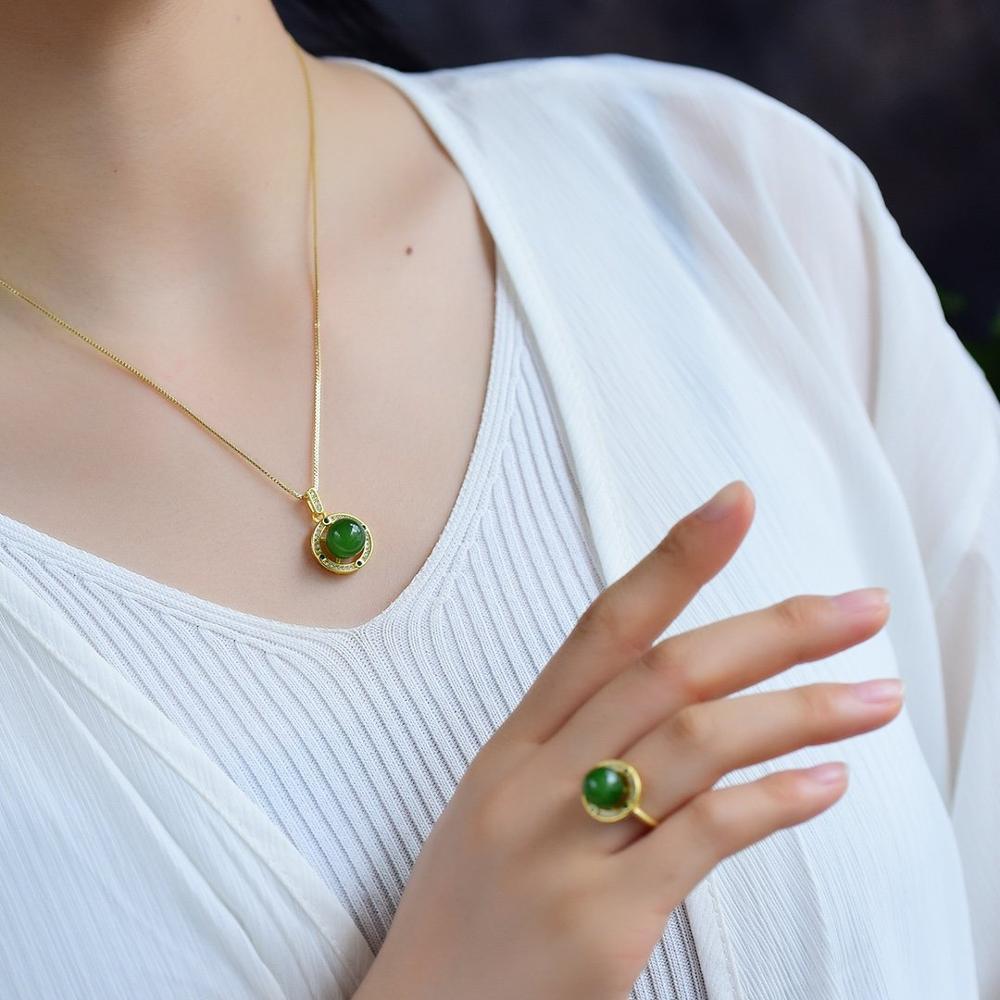 Jasper Round Bead Pendant necklace silver 925 jewelry colares naszyjniki chaînes collares de plata gioielli naszyjnik colar