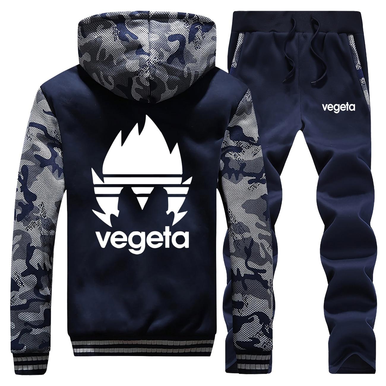 DragonBall Z Vegeta Print Mens Thick Hoodies Camo Sweatshirt+Sweatpants 2 Piece Sets Winter Warm Brand Jacket Dragon Ball Coat