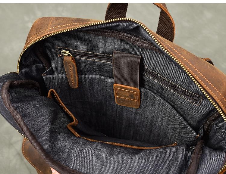 Durável couro de cavalo louco mochila masculina grande capacidade portátil saco de viagem mochilas retro primeira camada de couro sacos de escola - 6