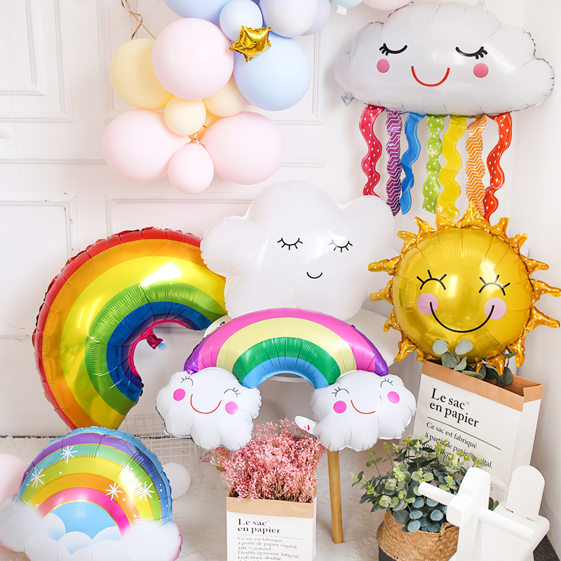 Rainbow Smile white Cloud Balloons Birthday Party Wedding Accessories Decoration Helium Balloons sun boy girl toy