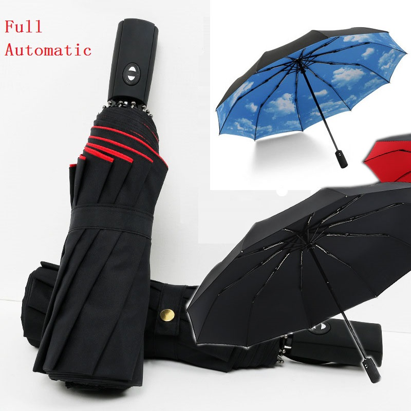 10K Double layer Windproof Fully-automatic Umbrellas Male Women Three Folding Commercial Large Durable Frame Parasol