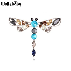 Wuli&baby Rhinestone Dragonfly Brooches For Women 2-color Insect Party Casual Office Brooch Pins Gifts