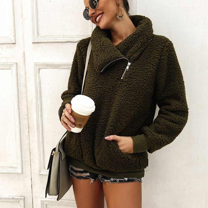Women Winter Autumn Zipper Fannel Neck Long Sleeve Sweatshirts Hoodies Pockets Fleece Sherpa Pullover Coat Outwear - 3