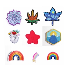 Pulaqi Rose Flowers Patches Rainbow Embroidery Patch for Clothing Sewing Iron on Cloth Badge Leaf Applique Accessories