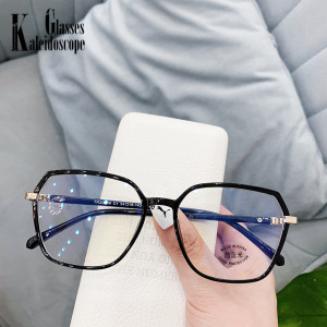 Retro TR90 Glasses Frame Large Polygon Anti-blue Light Flat Mirror Eyeglasses Frames for Myopia Optical Oversized Spectascles