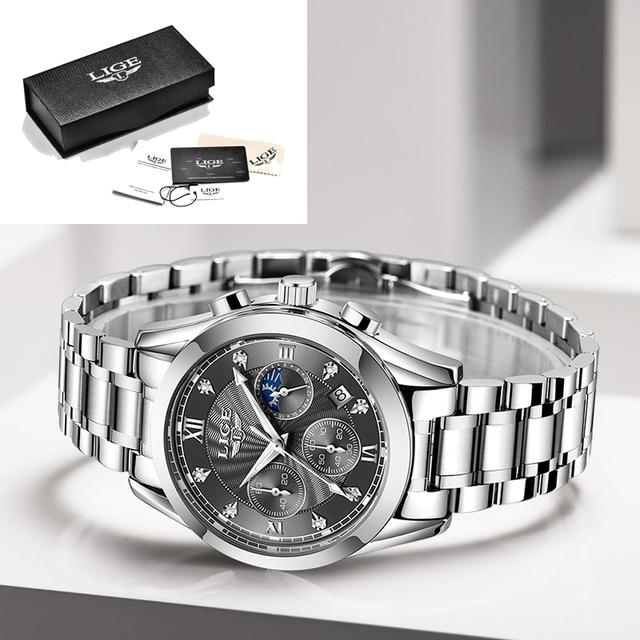 LIGE Luxury Ladies Watch Women Waterproof Rose Gold Steel Strap Women Wrist Watches Top Brand Bracelet Clocks Relogio Feminino 6