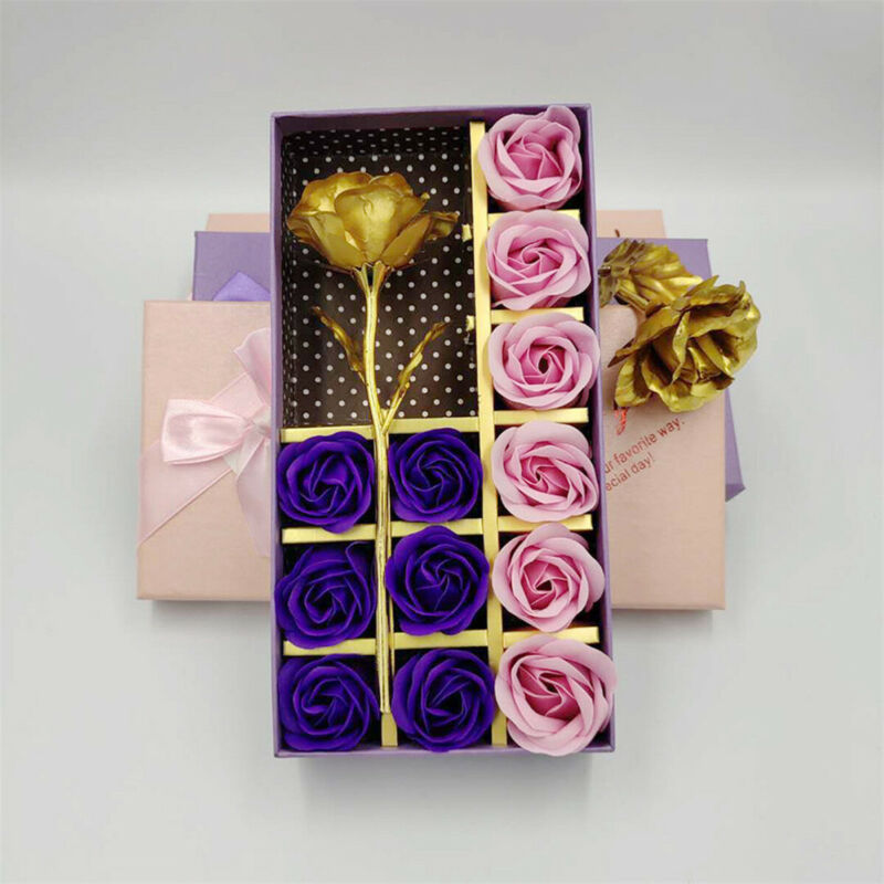Valentine's Day February 14 Romantic Rose Gold Plated Flower Soap Gift Woman Girl Anniversary Birthday Gift