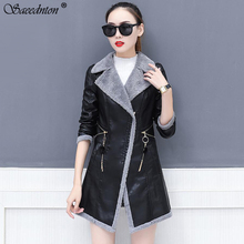Women Winter Fashion Lambswool Motorcycle Jacket 2019 Outerwear Faux Leather Pu Gothic Thicken Warm Coats