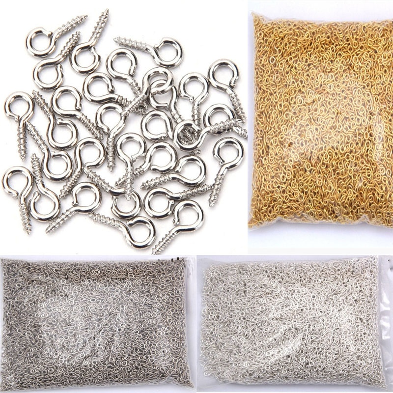 300Pcs Mini Screw Eye Pins For Jewelry Making Pearl Beads Screw Threaded Hooks Eyelets Clasps Findings For Bracelet DIY Earrings