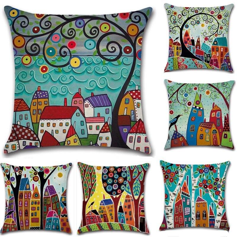 Retro Rural Color Cities Cushion Cover Linen Throw Pillow Car Home Decoration Decorative Pillowcase Decorative Pillows  Grinch