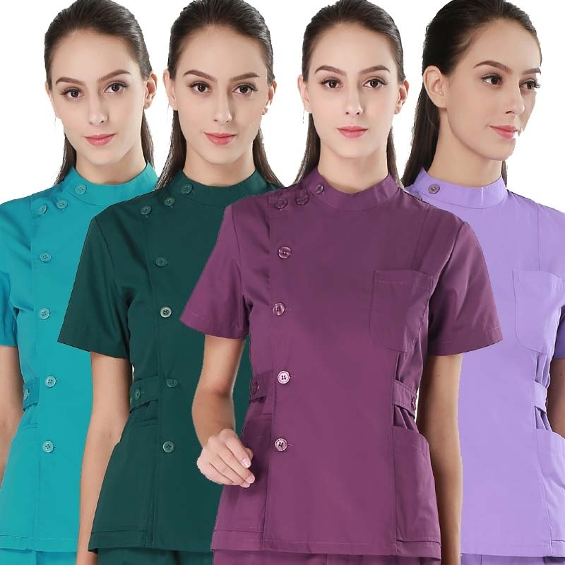 Women's Fashion Medical Uniforms Stand Collar Short Sleeve Side Opening Front Scrubs Tops Clinic Uniforms( Just A Top)