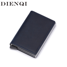 DIENQI cartera pequeña de cuero genuino anti Rfid para hombre, monedero delgado de Metal, billetera fina