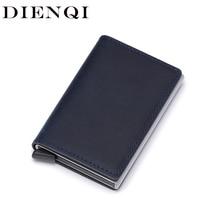 DIENQI hakiki deri erkek cüzdan Rfid Mini cüzdan küçük ince Metal erkek çanta ince cüzdan para çantası lüks Vallet cartera hombre