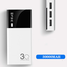 Triple USB LCD Mirror 30000mah Power Bank External Battery P