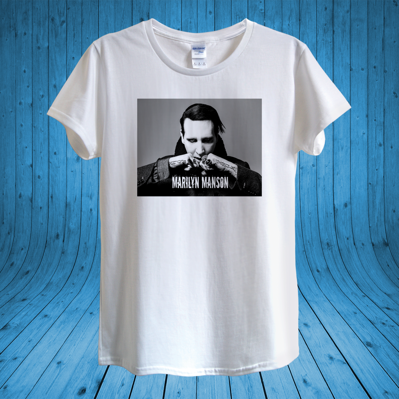 Marilyn Manson T-shirt Design unisex man women fitted Short Sleeve Tee Shirt