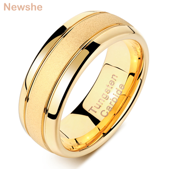 Newshe Golden Color Men's Charm Finger Rings 8mm Tungsten Carbide Frosted Bands Wedding Jewelry For Men Size 9-12 TRX059