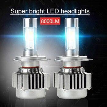 OkeyTech 2pcs V8 Series Car Led Headlight Bulbs Lamp H1 H4 H7 H11 H8 H4/9003/HB2 Hi/Lo Car High Low Beam 6000K 12V Light Source