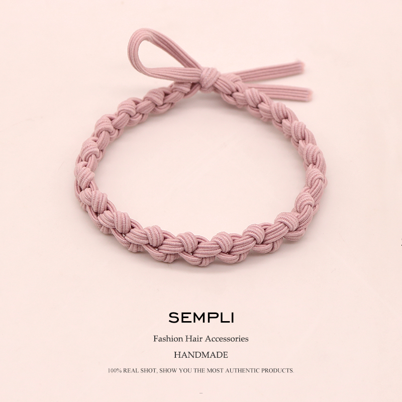 Sempli Elastic Hair Band Headband Bohemian Weave Double Color Rubber Bands For Women Kid Elastic Hair Rubber Band Accessories