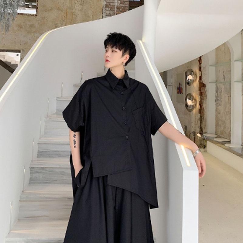 Asymmetric Design Japan Style Oversize Men Shirts Black White Hip Hop Punk Blouse Male Vintage Casual Street Wear Camisa