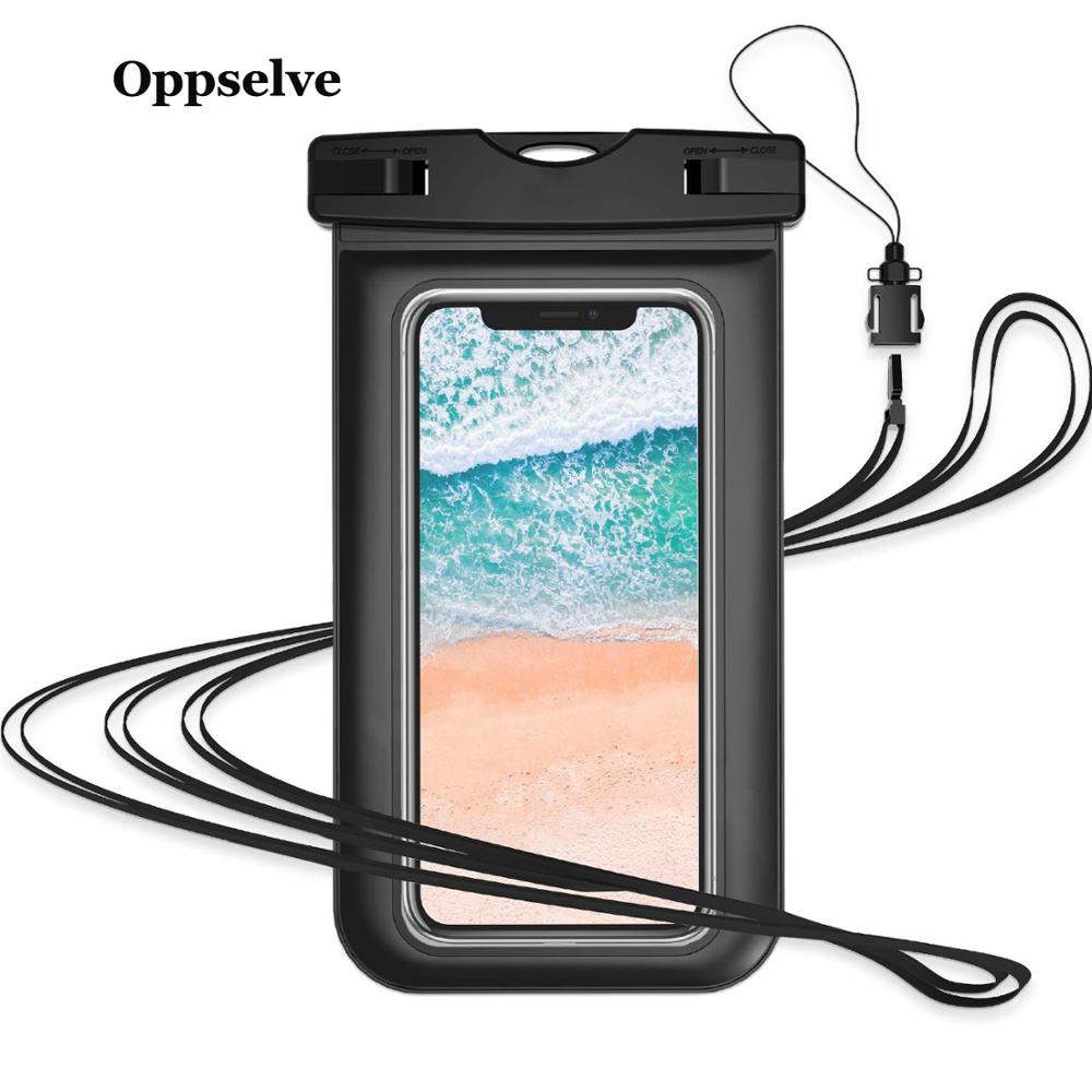 Universal Waterproof Case For iPhone 10 Pro XS Max Xr X 8 7 6 Samsung S9 S8 S10 Plus Note 9 Pouch Swimming Black