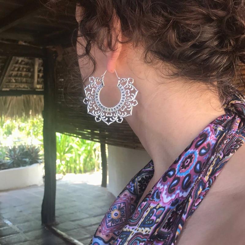 Tocona, богемные, золотые, вырезанные, Винтажные серьги, мандала, большой цветок, женские модные серьги 2019 8843