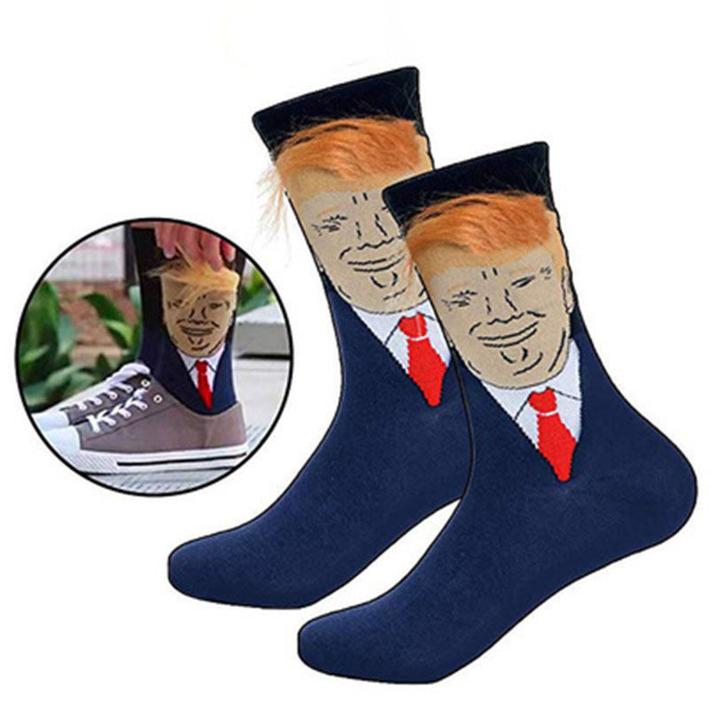 President Donald Trump Sports  Socks Unisex Funny Print Adult Casual Crew Socks 3D Fake Hair Crew Socks Hip Hop Skateboard Sock