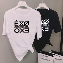 Fashion Letter Printed Tshirt Women Kpop Exo Obsession T-Shirt Casual Short Sleeve Tee Shirt Tops Unisex Fasns Clothes(China)