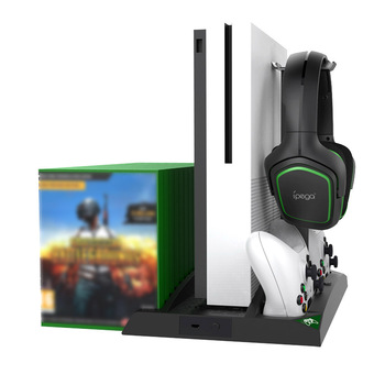 IPEGA Game Vertical Stand 6 in 1 Multifunctional Cooling Fan Headphone Holder Charging Base for XBOX ONE/XBOX ONE X/XBOX ONE S 2