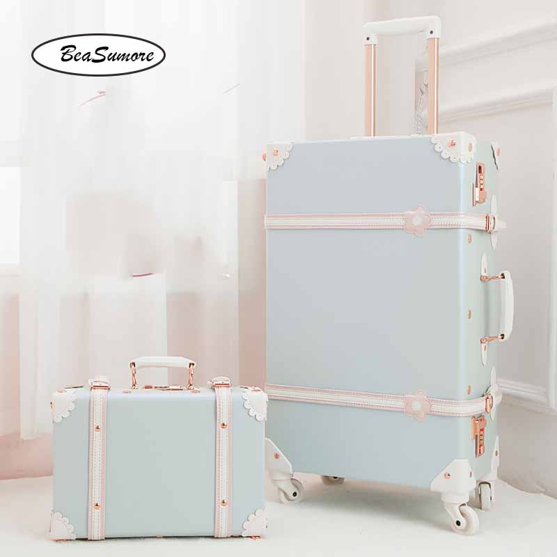 BeaSumore 26 Inch Retro PU Leather Rolling Luggage Sets Spinner Women Password Suitcase Wheels  20 Inch Women's Handbag Trolley