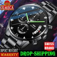 OLMECA Men Watch Luxury Sport Fashion Military Waterproof Quartz Wristwatch Relogio Masculino Famous TOP Brand Watch Clock Alarm