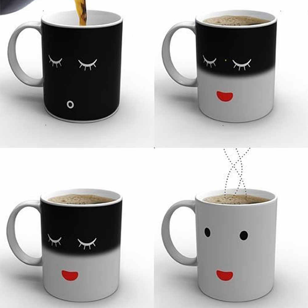 Czyszczenie magazynu wyprzedaż kreatywny kubek zmieniający kolor wrażliwy na ciepło ceramiczne 11oz kubek do kawy magiczna herbata Drinkware prezent niespodzianka