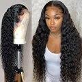 Лоуэлл 13x4 глубоко вьющиеся синтетические волосы фронта шнурка человеческих волос парики для женщин 30 дюймов человеческие бразильские нату...