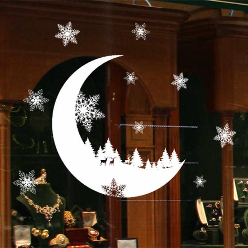 2020 חג המולד קיר מדבקות חלון זכוכית פסטיבל מדבקות חג המולד עץ פתית שלג ירח ציורי חג המולד קישוטים לבית חדש