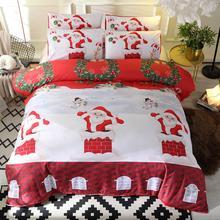 2/3Pcs Christmas Bedding Set Christmas Santa Snowman Chimney Print Quilt Cover Pillow Case Bed Set Duate Cover Pillowcases christmas snowman print throw pillow case