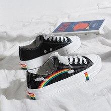 SWYIVY Woman Canvas Shoes Flats Platform Sneakers Rainbow La