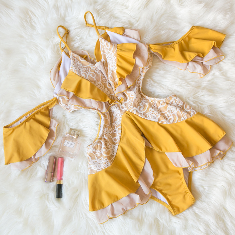 Yellow Hot Spring Swimsuit Women S One Piece Lace Conceals The Belly Looks Thin Conservative Sexy Net Holiday