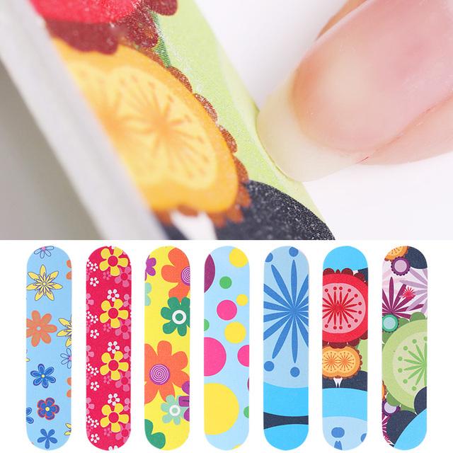 5/10 Pcs  Professional Colorful Flowers Pattern Nail File Nail Buffer Polish Nail Art File Tools Random Color Nails Tools