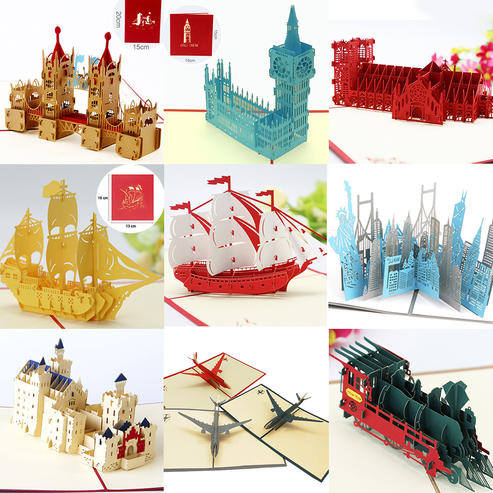 Pop UP 3D Birthday Cards World Attractions Card Business Invitations Boy Gifts Greeting Card Tourist Postcard For Boyfriend Dad