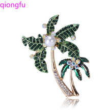 Qiongfu Brooch Coconut Brooch Alloy Brooch Pearl Brooch Coconut Brooch Brooch All-match Accessories Pin 2019fashion 1pc woman girl imitation pearl brooch classic charm high quality accessories simple double pearls brooches all match