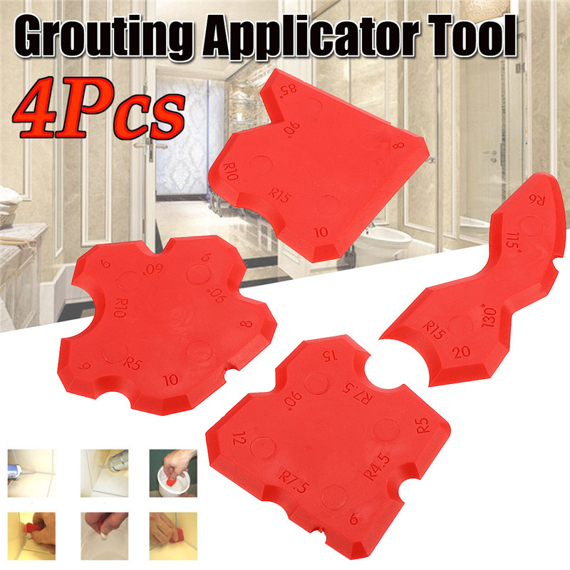 4pcs Grouting Sealant Silicone Profiling Applicator Caulk Tool For Ceramic Tile Sealant Grout Edge-Remover Scraper Hand Tool Set