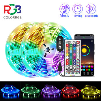 ColorRGB listwa oświetleniowa LED muzyka zsynchronizowana zmiana koloru RGB5050 aplikacja na telefon pilot LED lekki sznur 6M 12M 15M tanie i dobre opinie aiopp CN (pochodzenie) Bedroom PRZEŁĄCZNIK Taśmy 12 v Smd5050
