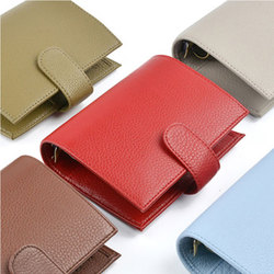 Yiwi Genuine Leather Rings Notebook A7 (14.3x11.5cm) Size Binder Agenda Organizer Diary Journal Sketchbook Planner Big Pocket